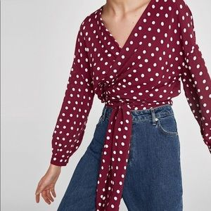 Zara polka dot wrap top